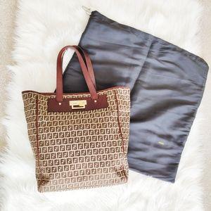 Vintage FENDI Zucchino Leather Trim Tote Bag